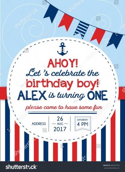 Nautical Sailor Theme Printable First Birthday Stock Vector