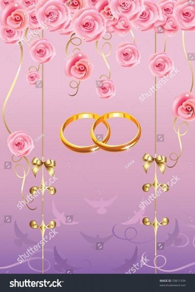 Wedding Invitationgreeting Card Roses Doves Golden Stock Vector