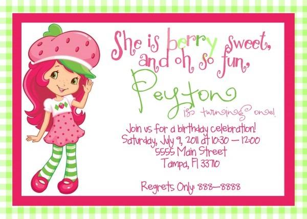 Strawberry Shortcake Birthday Invitations Strawberry Shortcake