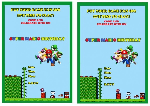 Super Mario Birthday Invitations