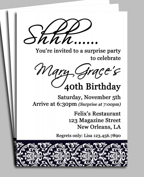 Surprise Birthday Party Invitation Wording For Adults Black