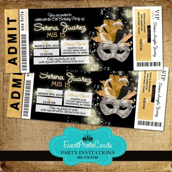Prom Tickets Template Excellent And Cool Masquerade Prom Ticket