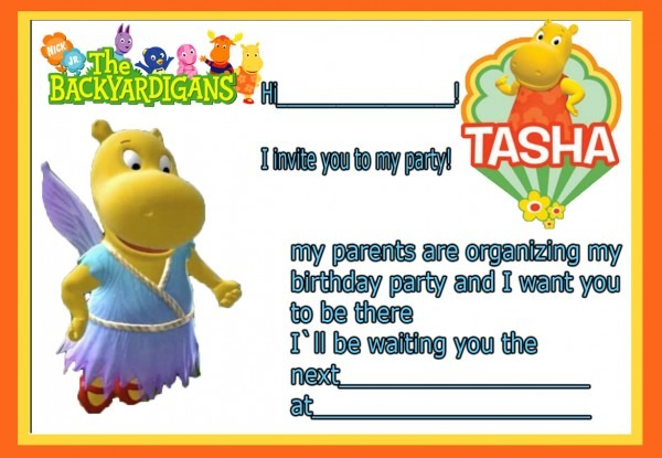 Birthday Invitation Card Backyardigans Tasha