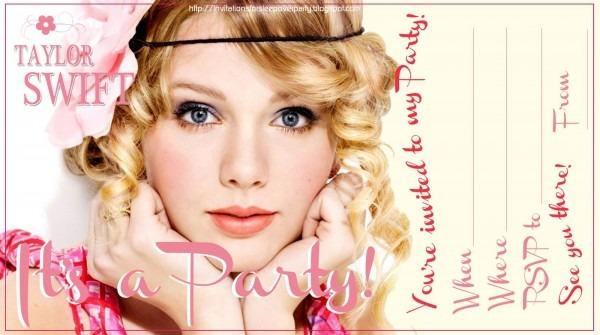 Taylor Swift Birthday Party Invitations