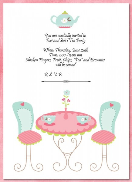 Tea Party Invitation Template Inspirational With Tea Party