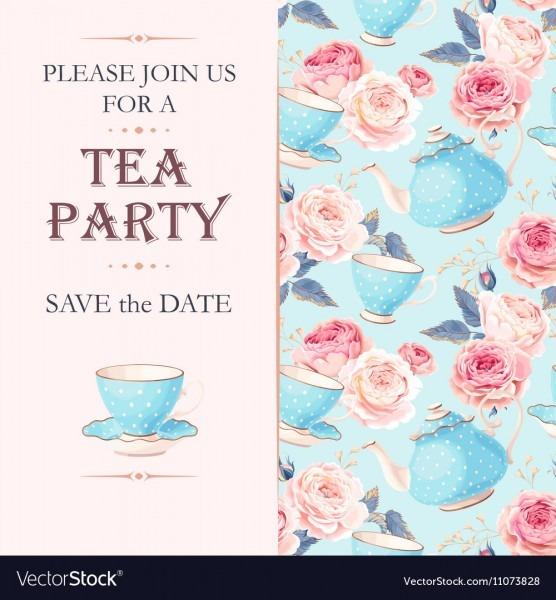 Tea Party Invitation Royalty Free Vector Image