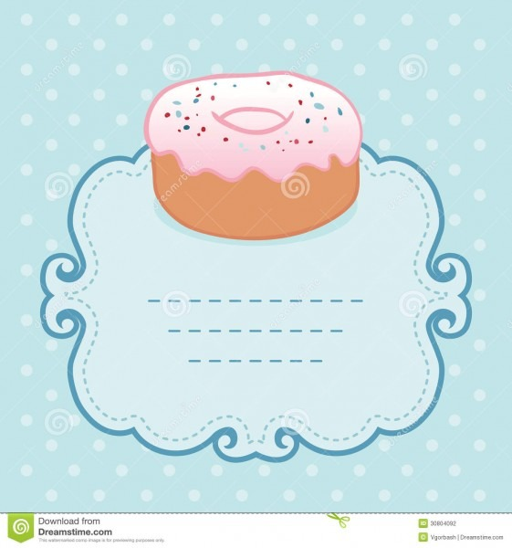 Tea Party Invitation Vintage Style Frame With Donut Stock