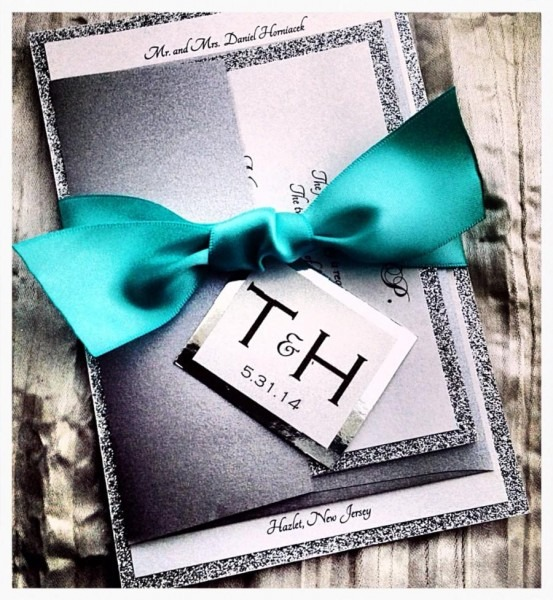 Teal Wedding Invitations, Silver Glitter Wedding Invitation And