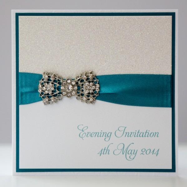 White & Teal Sparkle Vintage Style Art Deco Bow Wedding Invitation