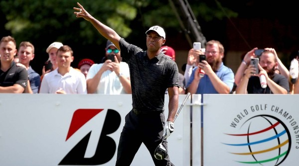 Tiger Woods Fires 68, Trails By Five Shots At Wgc