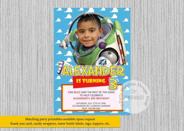 Toy Story Party Invitations Printed Or Digital Toy Story Buzz