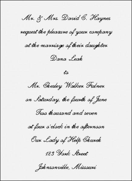 Traditional Wedding Invitation Wording Beautiful Traditional