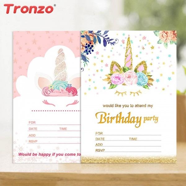 Tronzo Unicorn Invitations Card Wedding Decoration 10pcs Birthday
