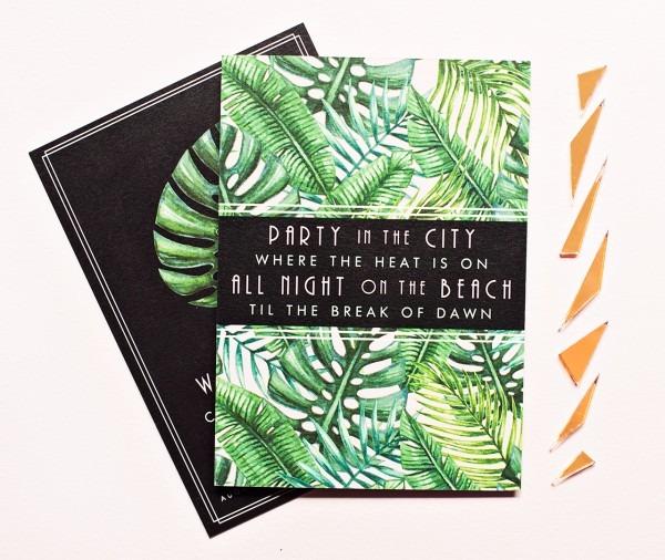 Tropical Art Deco Engagement Party Invitations