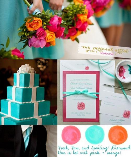 Orange And Turquoise Wedding Invitations