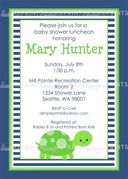 Turtle Boy Birthday Baby Shower Invite