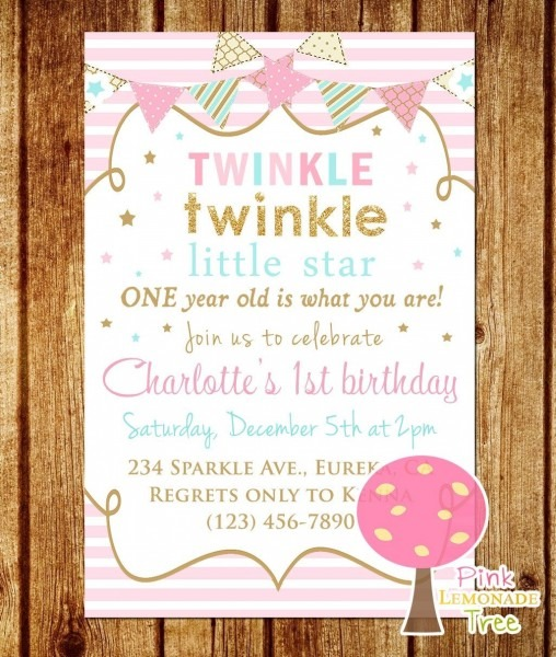Twinkle Twinkle Little Star 1st Birthday Invitations Amazing With