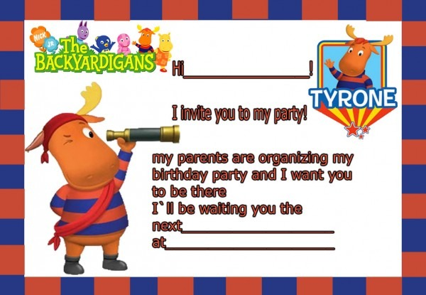 Birthday Invitation Card Backyardigans Tyrone