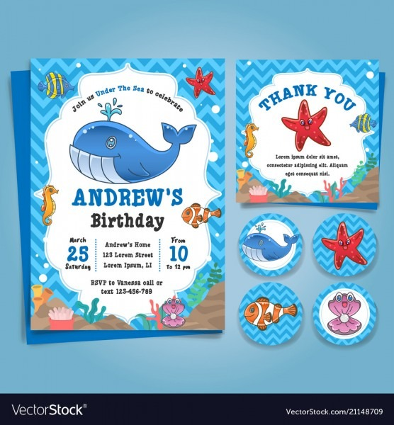 Underwater Sea Nautical Theme Birthday Invitation Vector Image