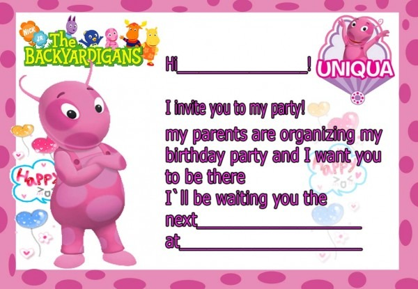 Birthday Invitation Card Backyardigans Uniqua
