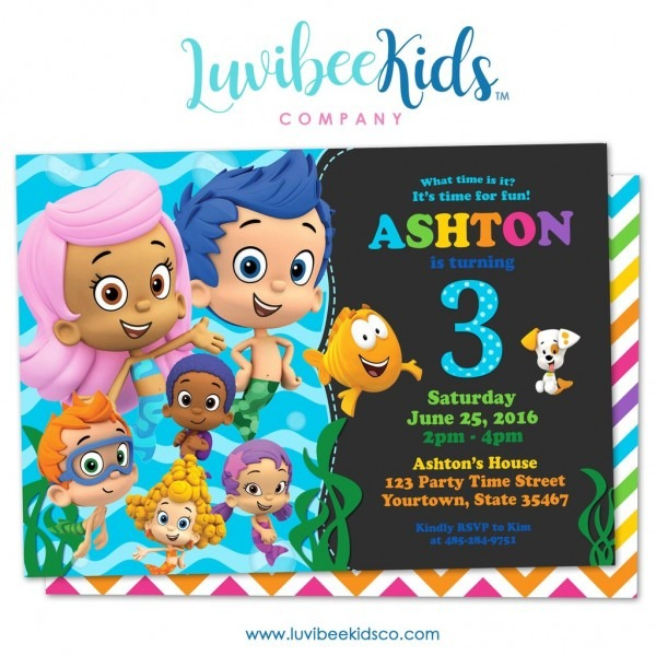 Untitled Layer X New Bubble Guppies Party Invitations