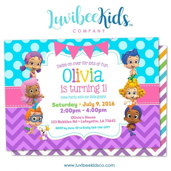 Untitled Layer X Nice Bubble Guppies Party Invitations