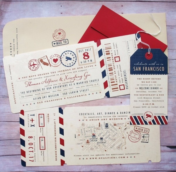 Vintage Ticket + Passport Inspired Wedding Invitations