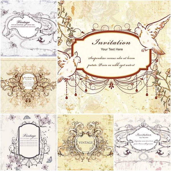Vector Vintage Wedding Invitations With Doves