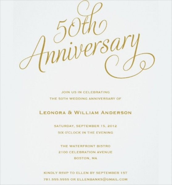 Wedding Anniversary Invitations Lovely 50th Anniversary