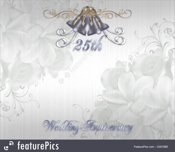 25th Wedding Anniversary Invitation Silver Bells Stock