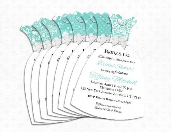 Wedding Dress Cut Out Bridal Shower Invitations