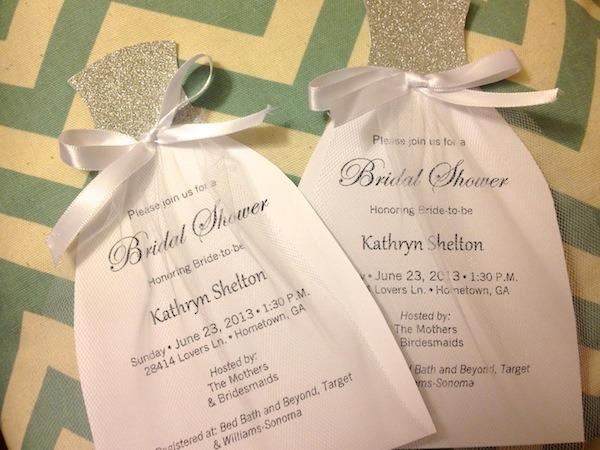 Wedding Dress Cut Out Bridal Shower Invitations Wedding Dress