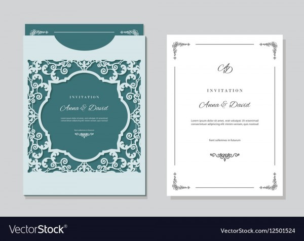 Wedding Invitation Card And Envelope Template With