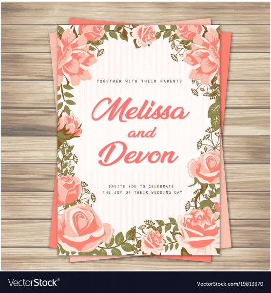 Wedding Invitation Pink Roses Pink Background Vect