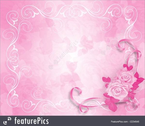 Illustration Of Wedding Invitation Pink Roses