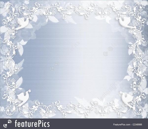 Templates  Wedding Invitation Floral Border Blue