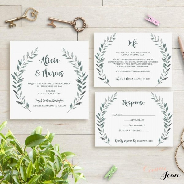 Wedding Invitation Template Rustic Printable Invitation Set