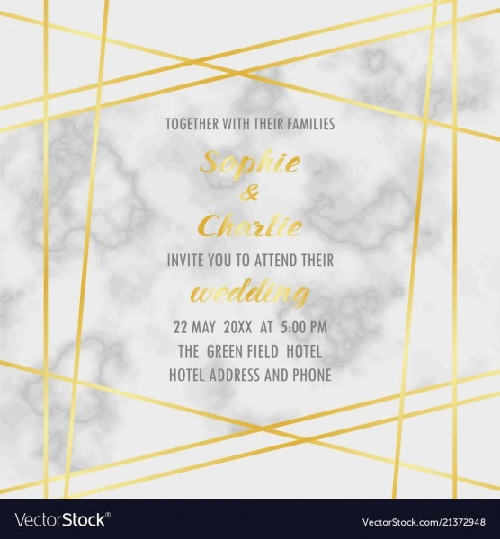 Wedding Invitation With Gold Geometric Frame Vector Image