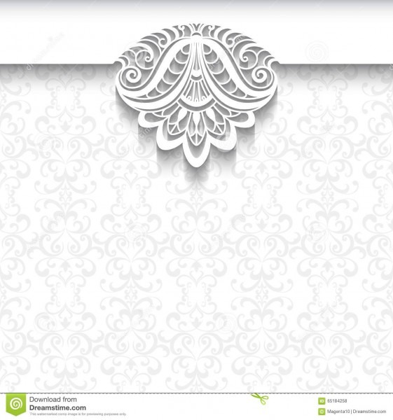 White Lace Background, Wedding Invitation Template Stock Vector
