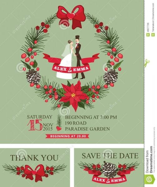 Winter Wedding Invitation Retro Bride,groom, Stock Vector