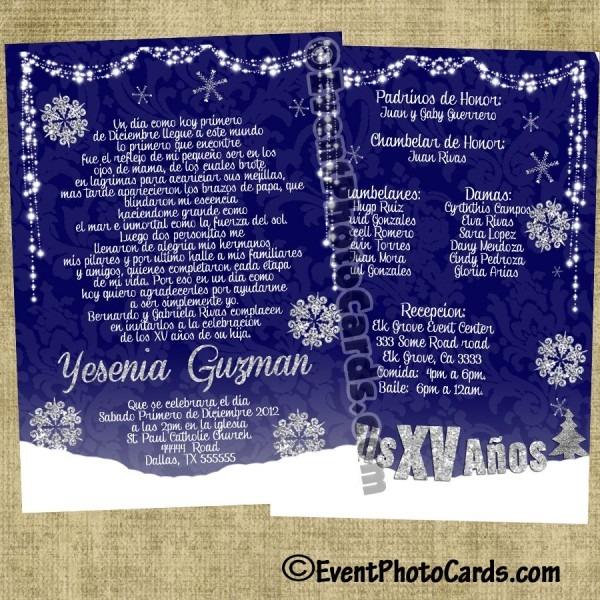 Winter Wonderland Quinceanera Invitations, Personalized Invites