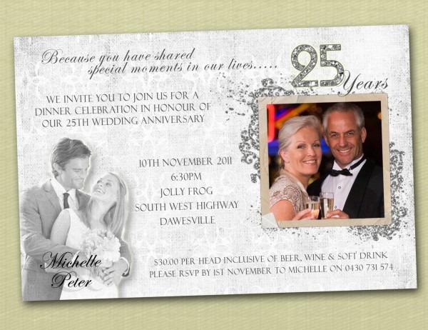 Beautiful Wedding Anniversary Invitations 25th Wedding Anniversary
