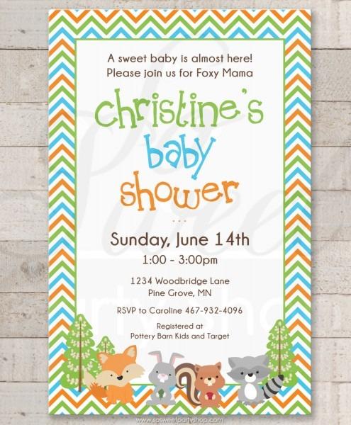 Woodland Baby Shower Invitations, Woodland Animals, Foxy Mama