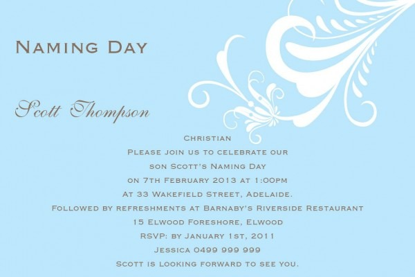 Naming Day Invitation Wording