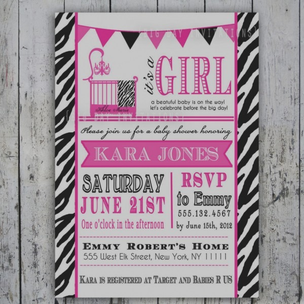 Zebra Print Baby Shower Invitations