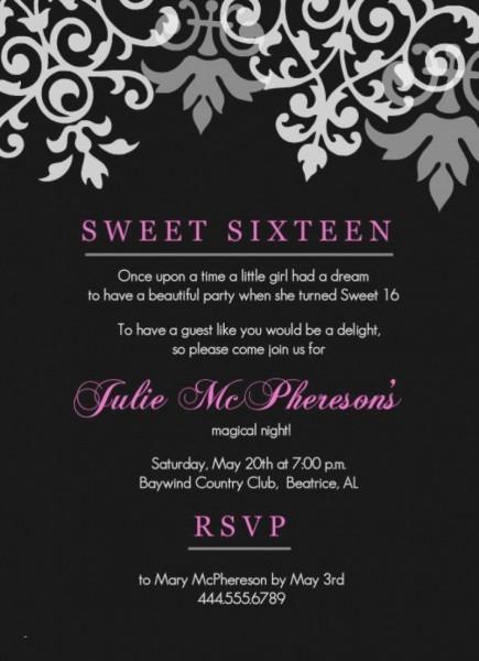 Free Printable Sweet 16 Invitations  Sample Sweet Sixteen Party