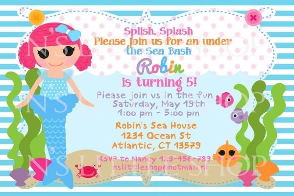 Loren's 5th Mermaid Doll Birthday Invitation Card   Customize