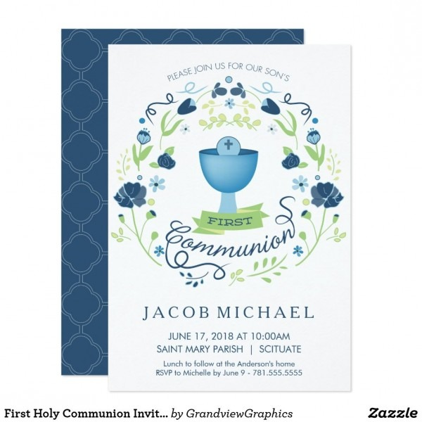 First Holy Communion Invitation Boy's Invite Card This Pretty And