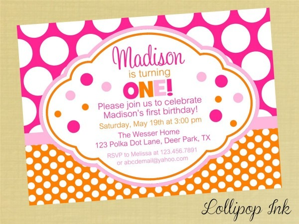 Hot Pink And Orange Polka Dot Printable Birthday Invitation, Hot