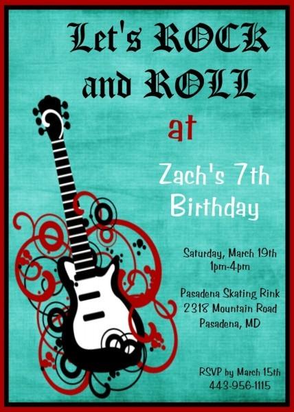 Boys Rock Star Guitar Birthday Invitation Rock N Roll Birthday